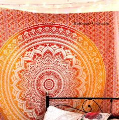 This Ombre Mandala wall hanging is perfectly desiged for bohemian and gypsy lovers. The design and e Tapestry Online, Dorm Tapestry, Tapestry Bedroom, Indian Tapestry, Bohemian Tapestry, Bohemian Bedding, Mandala Tapestry, Tapestry Wall Hanging, Hippie Tapestries