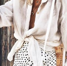 summer style. front tie blouse. polka dots skirt.