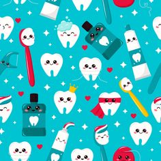 Kawaii Tooth, Toothpaste, Toothbrush, Mouthwash And Dental Floss.