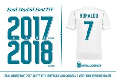 Full Sports Results, Highlights and History in Worlds Football Fonts, Football Design, Real Mardrid, Jersey Font, Font 2017, Madrid, Brand Board, Coreldraw, Sports Logo
