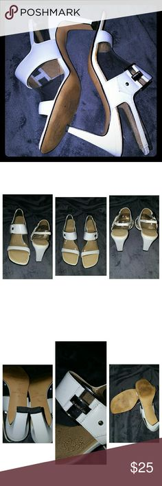 """White Anne Klein Slingback Sandals EUC! Perfect pair of white leather sandals. Insoles and leather are in great condition. It's so tough to find a nice pair of white sandals, but these are it! Ready for summer outings and just in time for wearing white shoes!  Material: Leather upper, balance man made  Color: white with silver hardware Heel height: Just over 3"""" Anne Klein Shoes Sandals"""