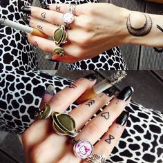 http://instagram.com/p/rP0VPCwMMl/ how 2 wear moon, star and Hello Kitty rings >^=^<
