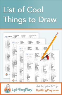 List of Cool Things to Draw for Kids - 125 Ideas of What to Draw � Printable word lists of things to draw for Winter, Spring, Fall, Summer...