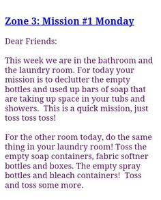 FlyLady Zone 3 Mission 1 Flylady Zones, Fly Lady Cleaning, Extra Bedroom, Clean Machine, Lists To Make, Diy Cleaning Products, Dear Friend, Homemaking, Clean House