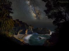 "Thursday, May 22, 2014: Astrophotographer Rogelio Bernal Andreo sent in a photo of the Milky Way over McWay Falls, Big Sur, California. He indicates in an email message to Space.com that: %u201CIt's a composite that includes a dozen of images shot at 140mm and a ""tracked"" sky at 70mm."" The falls appear as a narrow stream of water falling onto the beach just slightly left and below the center of the image. Andreo captured the image during the weekend of May 10-11, 2014. %u2014 Tom Chao"