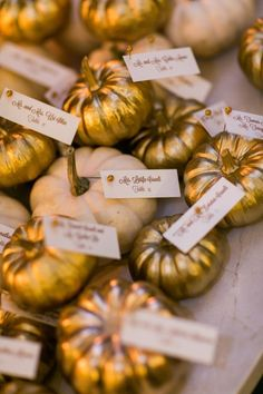 Gilded pumpkins add an instant touch of glam to any wedding table…