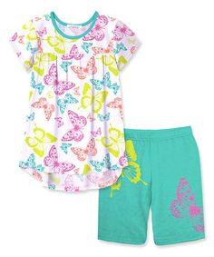 Look at this #zulilyfind! White & Green Butterfly Hi-Low Tunic & Shorts - Toddler & Girls #zulilyfinds