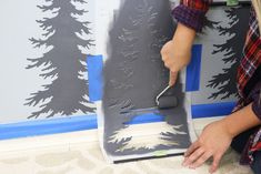 How to Stencil A Misty Mountain Wall Mural DIY How to Stencil A Misty Mountain Wall Mural DIY<br> This amazing Mountain pines stencil kit helps you to easily create a beautiful forest wall mural using simple DIY painting techniques.