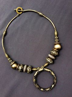 Textural Brass Art Necklace by ivylynnrobinson on Etsy, $39.00