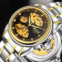 Rare Offer $13.06, Buy 2017 latest automatic mechanical watch waterproof men, skeleton men's stainless steel watch, well-known brand BOSCH gold watch