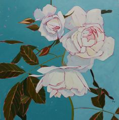 Frosted Meringue Oil on Panel Climbing Roses, Acrylic Paintings, Meringue, White Roses, Oil, Floral, Artist, Flowers, Artists