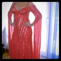 """💖 Coral Formal Gown (M) 💖 European size 40 which is like a M (8-10), see measurements.  60"""" long 18"""" from armpit to armpit measured flat.  Sleeves approx 52 inches are slit for comfortable wear. Zipper and hook.closuere in the back. Floor Lenght Glitter, embroidered,  with stones, pearls, sequins. In the front and back and sleeves. Absolutely stunning! Please note, very few sequins are missing at the bottim but are not noticable. Fully lined. Dry cleaned of course.   See 2nd listing  for…"""