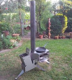 Stumble upon this Facebookpost, showing this Modular rocket stove by German builder RF Raketenöfen. Thecommercial rocket stove consists of a basic heater, complementary attachments (lamp module, espresso module and cooking / bake / grill module) and some accessories like mantle hat or storage tank for wood pellets. You can choose between stainless steel or steel.This is what they say on their website:'The rocket stove sounds so much like a launching rocket during the operation...