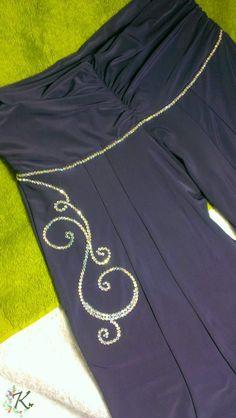 Customised Ceroc Trousers using Iridescent HotFix Crystals.