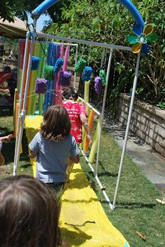 Kid Wash (car wash with PVC pipe, pool noodles) i need to get vinnie to build me this! Outdoor Games, Outdoor Play, Outdoor Ideas, Kid Car Wash, Activities For Kids, Crafts For Kids, Party Giveaways, Party Hacks, Party Ideas
