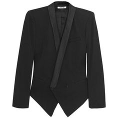 Helmut Lang Tuxedo cotton-blend blazer ($245) ❤ liked on Polyvore