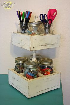 Double Decker Mason Jar Craft Caddy