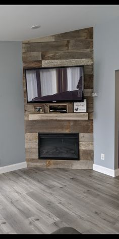 Corner Mantle, Corner Fireplace Tv Stand, Corner Electric Fireplace, Fireplace Tv Wall, Build A Fireplace, Bedroom Fireplace, Corner Tv, Faux Fireplace, Fireplace Remodel