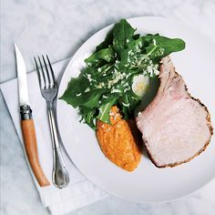 Food & Wine's Roast Pork with Acorn Squash Romesco Puree is the perfect fall entertaining dish.