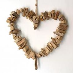 hanging driftwood heart  wreath - click to view