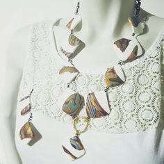 Gold mokume gane  Handmade polymerclay necklace