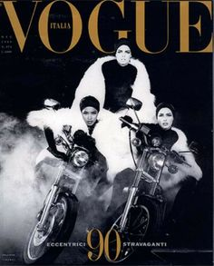 VOGUE ITALIA DECEMBER, 1989 COVER WITH MODELS- LINDA EVANGELISTA , NAOMI CAMPBELL & CHRISTY TURLINGTON PHOTOGRAPHED BY: STEVEN MEISEL