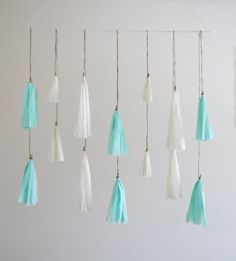 Mint, Gold, and White Tassel Garlands - 7 Piece Set - Weddings // Paper Decorations // Birthday // Room Decorations // Mint & Gold on Etsy, $36.62 CAD