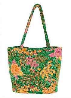 Beaded cotton batik tote bag, 'Princess Art'. Bright flowers blossom in the emerald garden that adorns this tote bag. Wahyu Sulistiani uses traditional batik techniques with the Hokokai and Kembang sore patterns.