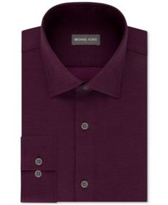 Michael Kors Men's Regular Fit Airsoft Stretch Non-Iron Performance Solid Dress Shirt - Purple 15.5 34/35