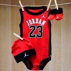 Air Jordan Baby Onesie Jersey Hat Booties - Red