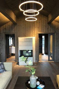 Cabin Interiors, Rustic Elegance, Log Homes, Home Renovation, Oversized Mirror, Basement, Relax, Ceiling Lights, Interior Design