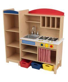 aspiring chefs love making their favorite dishes in this toy kitchen featuring plenty of storage