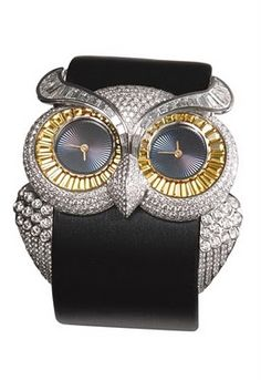 Chopard Animal World Collection's 18-karat gold, diamond and sapphire owl watch.