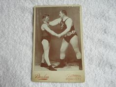 Antique Cabinet Card Photograph of Two Wrestling Wrestlers - Brooklyn, New York