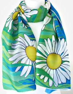Luxury Silk Floral Scarf Blue And Green by SimplySilkScarves,