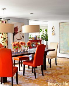 Drum pendants by West Elm create a sense of intimacy in the dining room. Custom table from York Street Studio. Rug, ABC Carpet & Home. Elise candle sconce, Ballard Designs. William Abranowicz  - HouseBeautiful.com