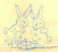 Easter bunny vintage transfers