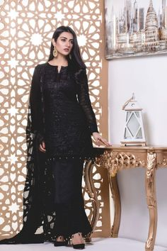 S Textile Chiffon Embroidered Collection 2018 By Mahrukh - Women Club, Beauty Health Fashion Black Pakistani Dress, Pakistani Fancy Dresses, Pakistani Fashion Casual, Pakistani Dress Design, Pakistani Outfits, Designer Anarkali Dresses, Designer Party Wear Dresses, Indian Designer Outfits, Frock Design