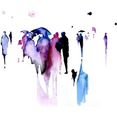 Abstract Watercolor Painting - Rain Fine Art - Umbrellas Original... (45.640 HUF) ❤ liked on Polyvore featuring home, home decor, wall art, art, backgrounds, effects, fillers, watercolor, matte painting and unframed wall art