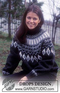 DROPS tröja med nordisk mönster och runt ok i Alaska. Gratis mönster från DROPS Design.