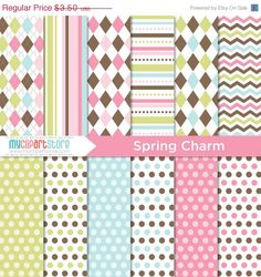 FALL SALE  Digital Paper  Spring Charm  Instant by MyClipArtStore
