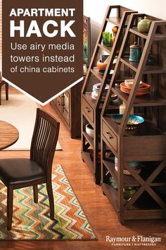 You can squeeze a lot in one room if you make smart furniture decisions. China cabinets (while beautiful) often take up a lot of physical space in a room. Instead, store your treasures in airy media towers. Shelves and drawers make them just as useful as a china cabinet, but they have a less imposing design that suits a small apartment.