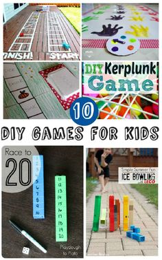 10 home-made games for kids. These DIY games look like so much fun! From home-made board games to active outdoors games