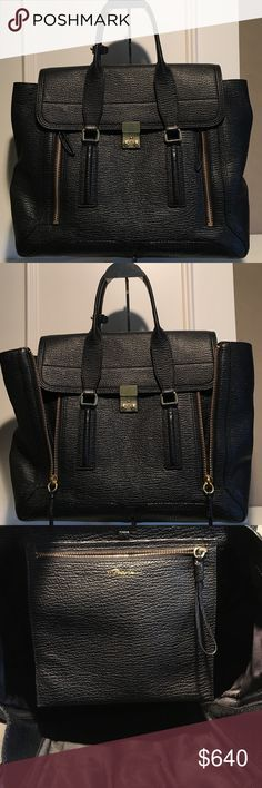 """3.1 Phillip Lim Black Large Pashli Satchel 3.1 Phillip Lim Black shark-effect-leather large Pashli satchel. Zipped side gussets; gold tone hardware Lined with fabric; zip pocket at interior Flat top handles with keeper; flat, detachable, adjustable shoulder strap  Front flap closes with metal push lock 12.0"""" height x 14.5"""" width x 5.0"""" depth (approximately) 6"""" handle drop, 25"""" maximum strap drop (approximately). Pre-owned See last picture for areas of wear Includes dust storage bag…"""