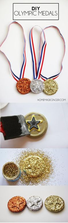 Get into the spirit of the Olympics by making some DIY medals with jar lids and glitter. This is a great kids craft for the Olympic season or any time of the year!
