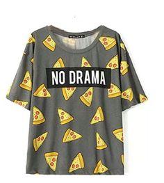 Aurora Women's Tops Pizza Letters Print T shirt Cute Cake Short Sleeve Size M DT172