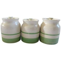 1950s English Kitchen Spice Canisters - Set of 3 ($225) ❤ liked on Polyvore featuring home, kitchen & dining, food storage containers, spice canisters, green canisters, ceramic food storage containers, ceramic canisters and green canister set