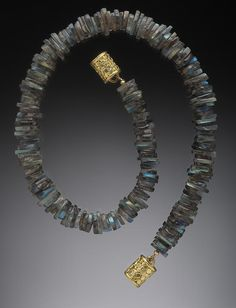 Labradorite Slab Necklace, 18K and diamond studded magnetic catch. Hughes-Bosca Jewelry | Necklaces