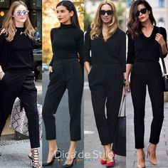 O look total black é super conhecido por ser básico, simples e fácil de criar. O look total black é super conhecido por ser básico, simples e fácil de criar. Por estas características poderíamos até dizer que ele é sem…. Black Work Outfit, Casual Work Outfits, Business Casual Outfits, Professional Outfits, Office Outfits, Classy Outfits, Chic Outfits, Fall Outfits, Fashion Outfits