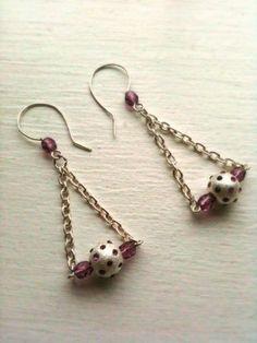 Rhinestone Studded Chain Earrings on Etsy, $55.00